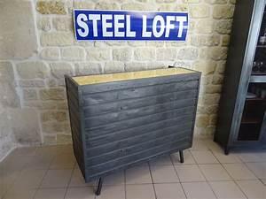 Meuble Industriel Nord : bar industriel ancien chariot de filature steel loft paris ~ Teatrodelosmanantiales.com Idées de Décoration