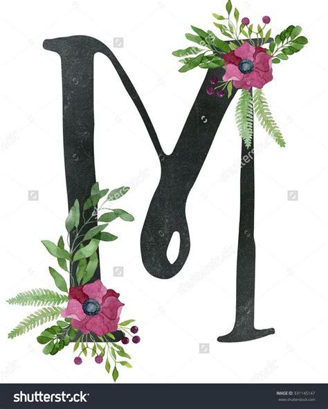 monogram letter    black chalkboard background  floral composition  red wine color