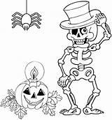 Coloring Halloween Skeleton Spider Pumpkin Mitraland sketch template