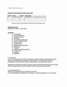 project scope document template sample project specification document free download