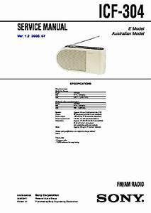 Sony Icf-304 Service Manual