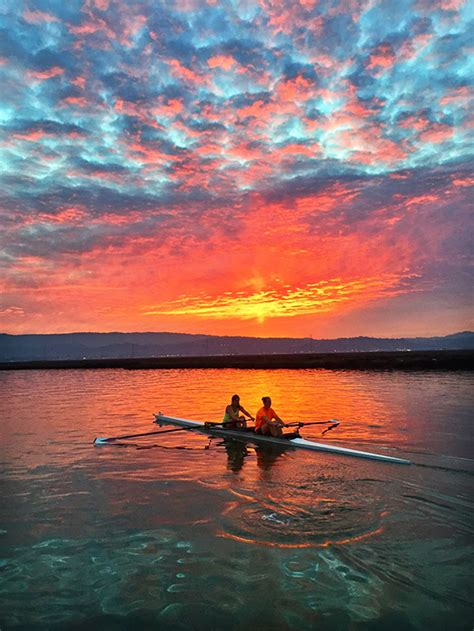 stanford sunset rowk rowing photo   day