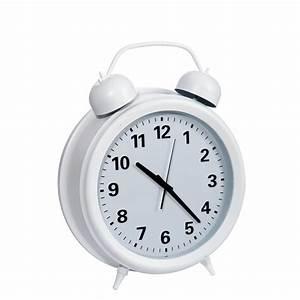 Pendule à Poser : horloge murale forme r veil style vintage 45x15x56cm en plastique et verre coloris blanc ~ Teatrodelosmanantiales.com Idées de Décoration