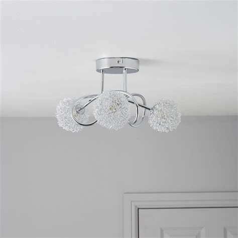 Pallas Chrome Effect 3 Lamp Ceiling Light  Departments