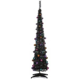 black pop up decorated lit slim christmas tree 1 8 metre