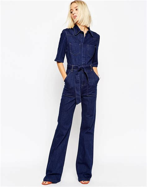 flared jumpsuit asos denim patch pocket flared jumpsuit with belt in blue