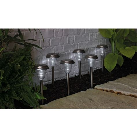 buy stainless steel solar lights set of 6 at argos co uk