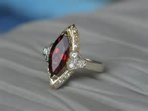 ruby diamond ring vintage garnet and diamond ring in 14k gold from