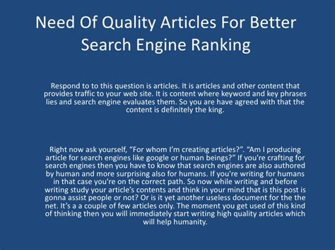 Better Search Engine Ranking - need of quality articles for better search engine ranking