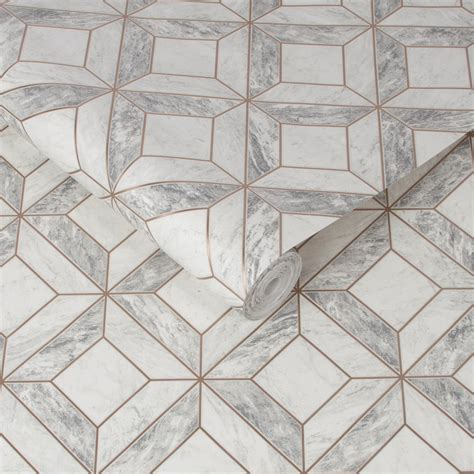 graham brown contour marble marquetry grey wallpaper