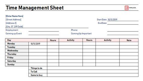 time management worksheet excel  template