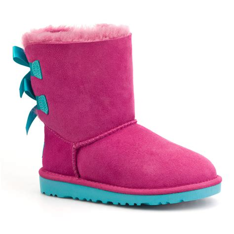 light blue uggs with bows pink ugg boots with blue bows