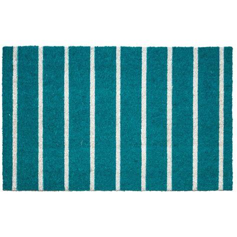 Teal Doormat by Entryways Teal Stripes 17 In X 28 In Non Slip Coir Door