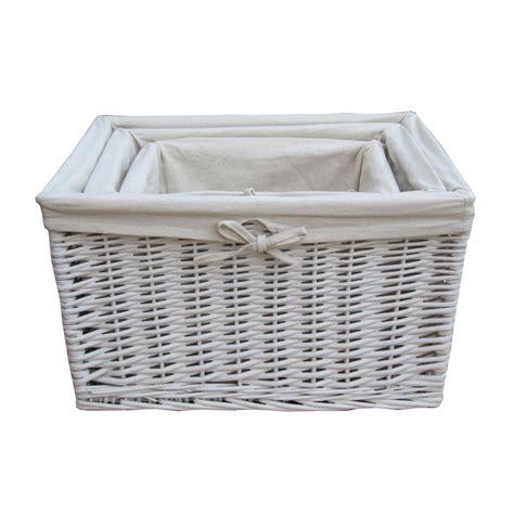 Basket Storage by White Wicker Rectangular Storage Basket