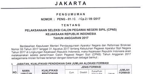 Contoh Lamaran Kerja Kejaksaan Agung by Kejagung Soal Dan Pendaftaran Cpns Kejaksaan Agung 2017
