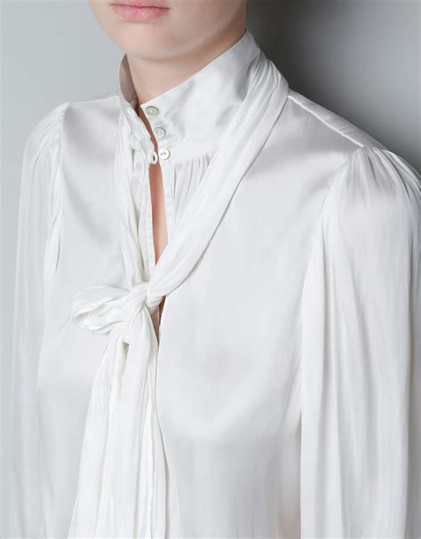 blouse with bow collar zara blouse with bow collar in white lyst