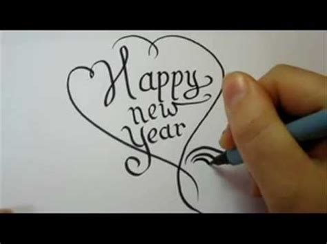 draw fancy letters happy  year   heart