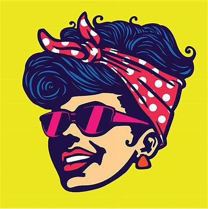 Rockabilly Vector Face Cool Sunglasses Illustration Hairstyle