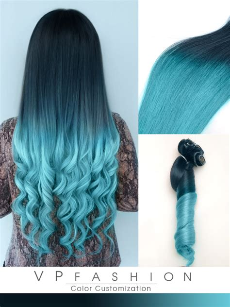 Black To Blue Dip Dye Human Hair Extensions Cs027 Vpfashion