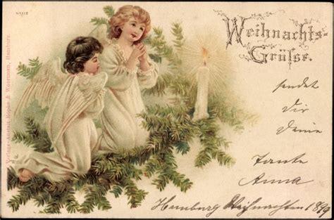 Litho Weihnachten, Engel Beten Vor Kerze, Tannenzweige