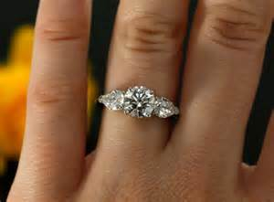 gold pear engagement rings 7mm moissanite three engagement ring in 14k white gold pear and moissanites