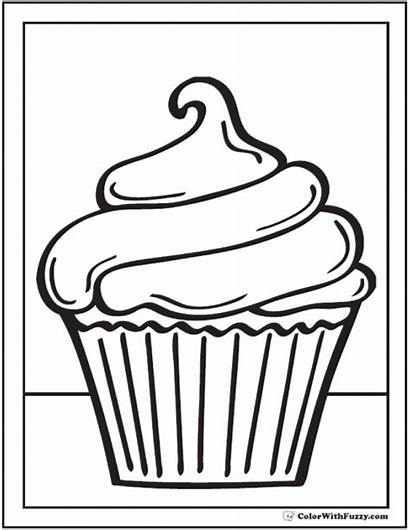 Coloring Cupcake Pages Cupcakes Printables Clipart Pdf