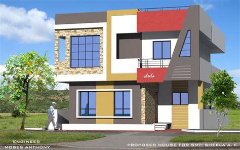 3d Front Elevation .3d Section Plans. Acp Front Designs