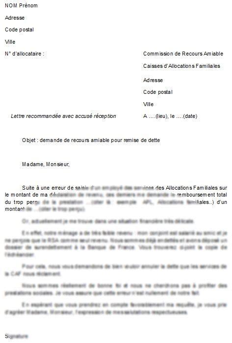 commission de recours amiable caf modele lettre mod 232 le de lettre lettre pour faire un recours de remise