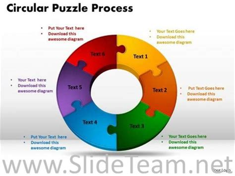 stages circular jigsaw puzzle flow process powerpoint