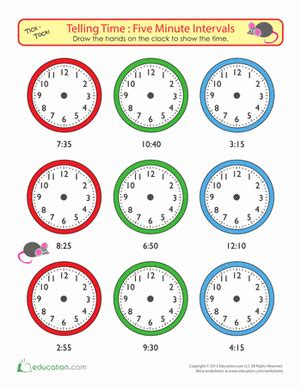 telling time   minutes draw  time educational