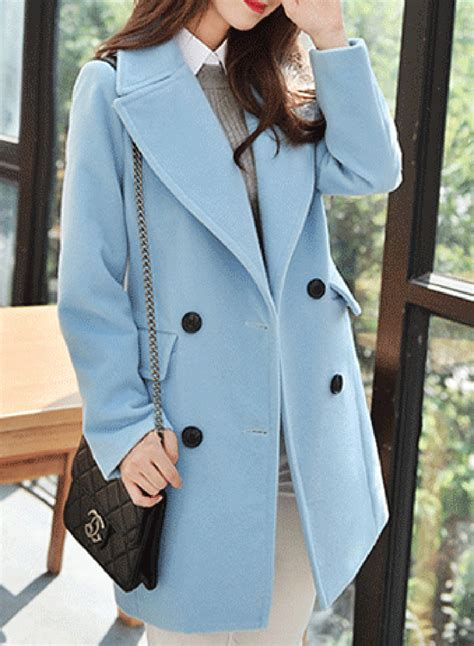 Fashion Long Sleeve Double Breasted Solid Coat
