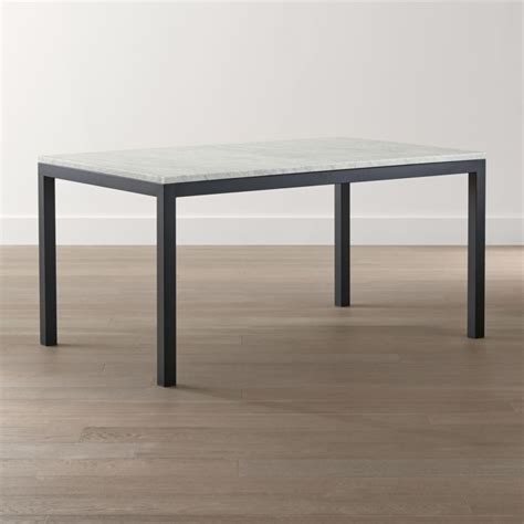 Parsons White Marble Top/ Dark Steel Base Dining Tables