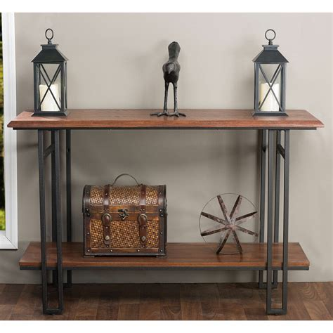 newcastle wood  metal console table furniture living room entry accent decor ebay
