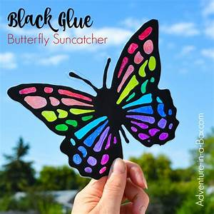 Black Glue & Sharpies Butterfly Suncatcher - Adventure in