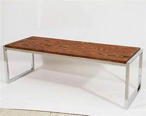 Chrome exotic wood coffee table or bench at 1stdibs for Exotic wood coffee tables