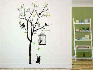 Baum An Wand Malen : wandtattoo baum mit vogelk fig und katze wandtattoo de ~ Frokenaadalensverden.com Haus und Dekorationen