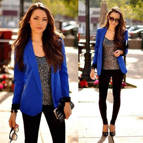 Outfits de mujer color azul - Google Search | Azul`*u2022u266b.u2022u00b4*.u00b8.u2022u00b4u2665 u266b | Pinterest | Blue blazers ...