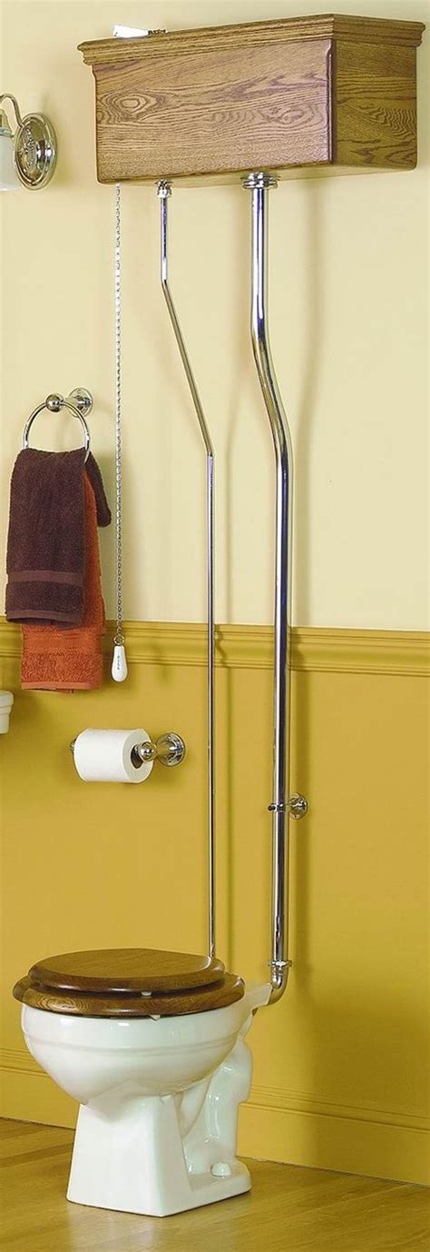 Reproduction Bathroom Fixtures by Pull Chain Watercloset Oak Tank Antique