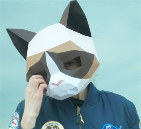 grumpy cat maskdiy animal headpdf downloadpaper etsy