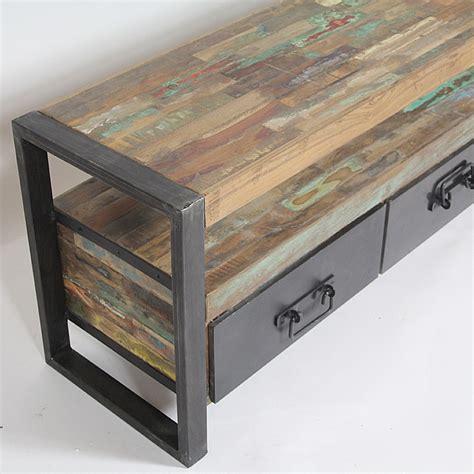 bureau industriel metal bois meuble tv industriel bois et métal 3 tiroirs madeinmeubles