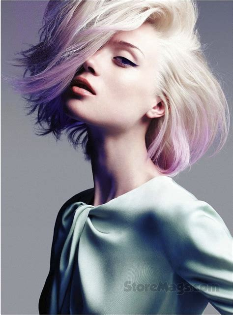 Sophisticated Rocker Dip Dyed Lavender Blonde Pastel Hair