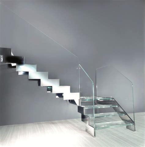 escalier quart tournant avec marches en verre 224 limon lat 233 ral en acier garde corps en verre