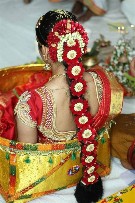 south indian bridal hairstyle  flowers  wedding glamour