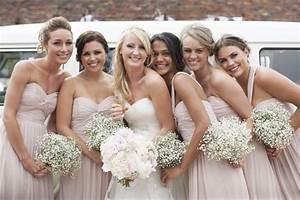 blush bridesmaid dresses - baby's breath bouquets Deer