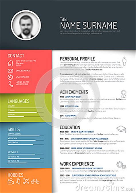 cv resume template stock vector image