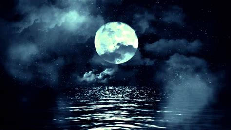 full moon  water  clouds royalty  footage