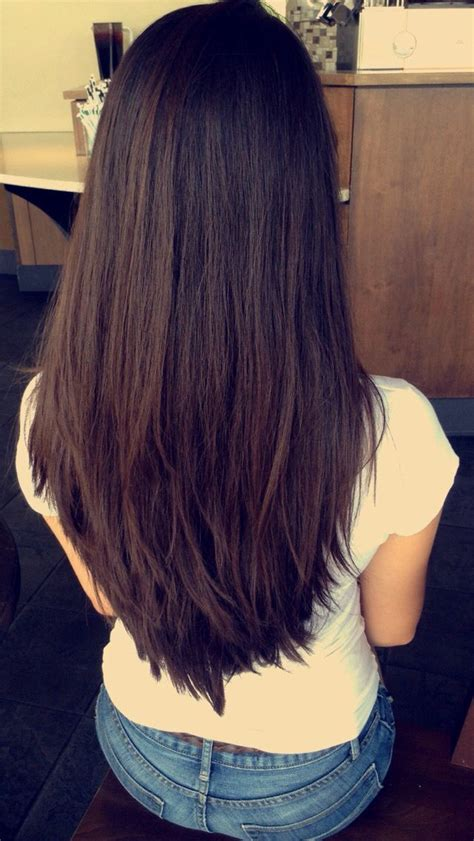 long deep espresso brown hair  short chunky layers