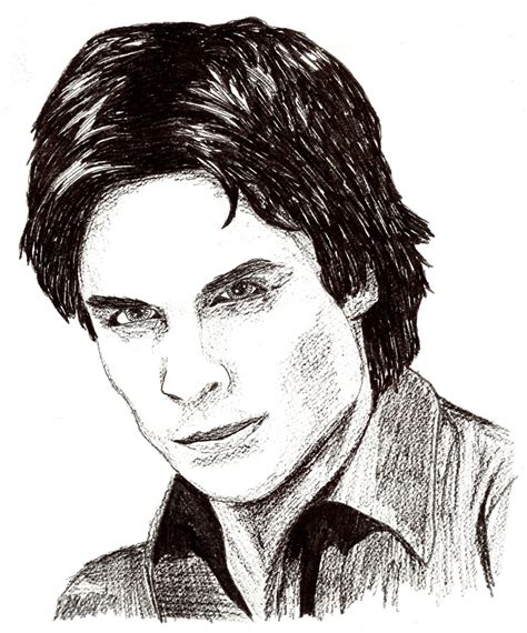 He drank katherine's blood willingly and was shot by his father after. This drawing is of the deeply gorgeous Ian Somerhalder ...