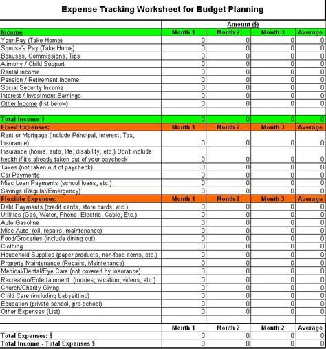expense tracking worksheet financial plan template