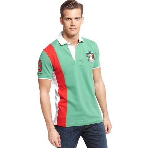 sleeve striped trim t shirt lyst hilfiger mexico world cup polo european